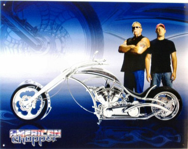 Photo of AMERICAN CHOPPER MOTORCYCLE SIGN, BEAUTIFULLY DETAILED BIKE WITH RICH COLORS