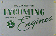 LYCOMING AIRCRAFT PORCELAIN SIGN