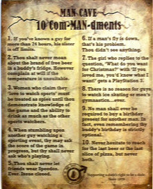 MAN CAVE 10 COMMANDMENTS SIGN