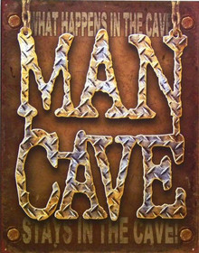 MAN CAVE DIAMOND PLATE LOOK SIGN