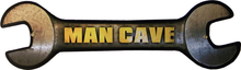 MAN CAVE WRENCH  (sublimation process) SIGN PLASMA CUT WRENCH SHAPE, HEAVY DUTY METAL