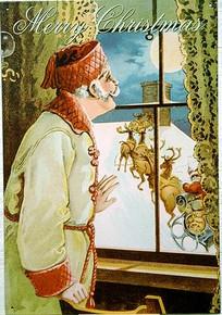 MAN WATCHING SANTA AT WINDOW CHRISTMAS SIGN