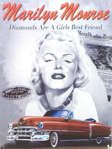 MARILYN PINK CADILLAC ENAMEL SIGN