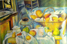 MELLON, FRUIT BASKET, PITCHER AND GRAPES OIL PAINTING