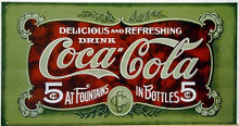 Photo of COKE ANTIQUE 5 CENT COCA-COLA SIGN WITH GRAPHICS AND COLOR FROM THE EARLY 1900'S