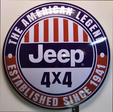 "DOMED METAL SIGN MEASURES APOX. 16"" DIAMETER BY 2 3/4"" DEEP WITH HOLE FOR EASY MOUNTING"