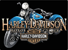 "HARLEY ""OLD BLUE"" VINTAGE EMBOSSED TIN SIGN  MEASURES 17"" X 12  1/2""  WITH HOLES FOR EASY MOUNTING"