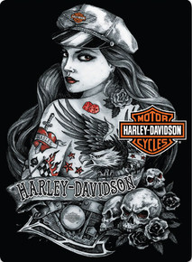 """HARLEY TATTOO BABE EMBOSSED VINTAGE TIN SIGN  MEASURES 12  1/2""""  X  17""""  WITH HOLES FOR EASY MOUNTING"""