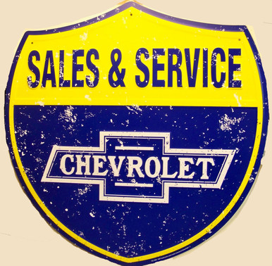 "LARGE CHEVROLET SALES & SERVICE SHIELD  MEASURES 22  3/4"" w  X  23"" h  WITH HOLE(S) FOR EASY MOUNTING"