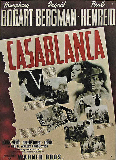 "VINTAGE CASABLANCA POSTER SIGN, OUT OF PRINT,  WE HAVE A NUMBER IN STOCK,  MEASURES 12  1/2"" X 16"" WITH HOLES FOR EASY MOUNTING"