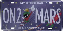 "MARVIN THE MARTIAN  ON2 MARS  ""MY OTHER CAR IS A ROCKET SHIP  HAS SLOTS FOR EASY MOUNTING  MEASURES 12"" X 6"""