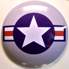 "GREAT 3-D METAL SIGN 15"" ROUND 2  3/4"" DEEP DOMED ONE HOLE IN TOP FOR MOUNTING"