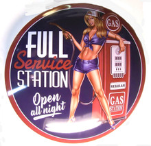 "GREAT 3-D PIN UP  METAL SIGN 15"" ROUND 2  3/4"" DEEP DOMED/   ONE HOLE IN TOP FOR MOUNTING"