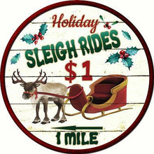 """This round flat aluminum metal sign measures 12"""" in diameter and has a hole for easy mounting.  Very Nostalgic"""