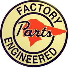 "PONTIAC FACTORY PARTS SIGN MEASURES 23  1/2""  IN DIAMETER   WITH HOLES FOR EASY MOUNTING  NOT A TOY, EDGES ARE SHARP"