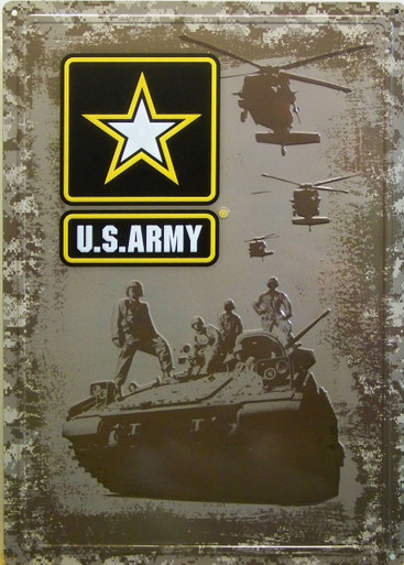"VINTAGE EMBOSSED TIN ARMY STAR SIGN MEASURES 12"" W  X 16  7/8"" H  X 1/4"" D WITH HOLES IN EACH CORNER FOR EASY MOUNTING"