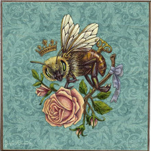 "BEE WITH ROSE PRINT ON BIRCH WOOD, MEASURES 12"" X 12"" X (APOX) 1  1/2"" DEEP  SPECIAL ORDER ALLOW 7-10 DAYS TO SHIP."