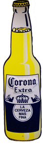 """DIE CUT VINTAGE METAL BOTTLE SHAPED SIGN, MEASURES 19  5/8""""  X  5"""" WITH HOLES FOR EASY MOUNTING"""