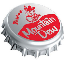 "THREE DIMENSIONAL MT. DEW BOTTLE CAP, MEASURES 18"" X 16"" X 1 1/2"" WITH HOLES FOR EASY MOUNTING."