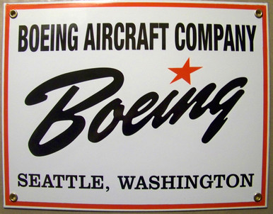 "PORCELAIN BOEING SIGN MEASURES 12"" X 9"" WITH HOLES IN EACH CORNER FOR EASY MOUNTING"