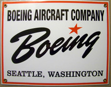"""PORCELAIN BOEING SIGN MEASURES 12"""" X 9"""" WITH HOLES IN EACH CORNER FOR EASY MOUNTING"""