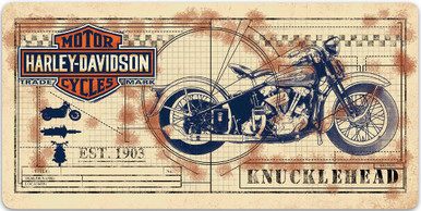 "HARLEY EMBOSSED METAL SIGN MEASURES 20"" X 10""  WITH HOLES IN EACH CORNER FOR EASY MOUNTING."