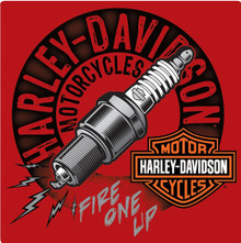 """HARLEY EMBOSSED METAL SIGN MEASURES  14  1/2"""" X 14  1/2""""  WITH HOLES IN EACH CORNER FOR EASY MOUNTING."""