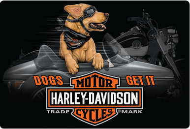 """HARLEY EMBOSSED TIN SIGN MEASURES 17""""  X  11 1/2""""  WITH HOLES IN EACH CORNER FOR EASY MOUNTING"""