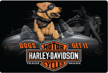 "HARLEY EMBOSSED TIN SIGN MEASURES 17""  X  11 1/2""  WITH HOLES IN EACH CORNER FOR EASY MOUNTING"