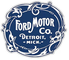 "VINTAGE FORD MOTOR COMPANY DIE CUT LOGO, MEASURES 17 1/2"" X 14 1/2""  WITH HOLES FOR EASY MOUNTING (LATE MARCH)"