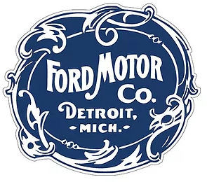 """VINTAGE FORD MOTOR COMPANY DIE CUT LOGO, MEASURES 17 1/2"""" X 14 1/2""""  WITH HOLES FOR EASY MOUNTING (LATE MARCH)"""