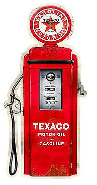"""VINTAGE TEXACO GAS PUMP DIE CUT, MEASURES 10 1/4"""" X  23 1/2""""  WITH HOLES FOR EASY MOUNTING (LATE MARCH)"""