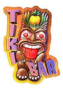 "TIKI BAR DIE-CUT VINTAGE METAL SIGN  MEASURES 12 1/2"" X 20""  WITH HOLES FOR EASY MOUNTING PRE-ORDER"