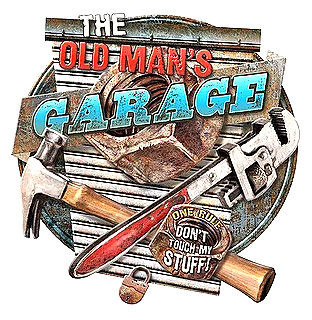 "THE OLD MAN'S GARAGE DIE CUT VINTAGE METAL SIGN MEASURES 15 3/4""  X  16 3/8""  WITH HOLES FOR EASY MOUNTING  PRE-ORDER"