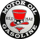 "LARGE ""RED HAT"" METAL MOTOR OIL & GASOLINE SIGN APOX. 23 1/"" DIAMETER WITH HOLES FOR EASY MOUNTING (CAUTION SHARP EDGES NOT A TOY FOR CHILDREN)"