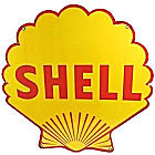 """LARGE """"SHELL"""" METAL SHELL SHAPED  GASOLINE SIGN APOX. 23 1/2"""" X 23 1/2"""" WITH HOLES FOR EASY MOUNTING (CAUTION SHARP EDGES NOT A TOY FOR CHILDREN)"""
