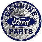 "ROUND FORD PARTS DIAMOND PLATE SIGN MEASURES 23 1/2"" X 23 1/2""  WITH HOLES FOR EASY MOUNTING.  EDGES ARE SHARP NOT A TOY FOR CHILDREN TO PLAY WITH"