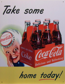 "COKE SPIRIT BOY WHITE BACKGROUND VINTAGE TIN SIGN  (1)  OUT OF PRODUCTION ONLY ONE LEFT.  MEASURES 12 1/2"" X 16""  WITH HOLES FOR EASY MOUNTING"