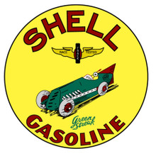 """SHELL GREEN STREAK RACING GASOLINE SIGN IS ON HEAVY METAL USING THE SUBLIMATION PROCESS, MEASURES 14"""" DIA.  WITH HOLES FOR EASY MOUNTING.  THIS IS A SPECIAL ORDER SIGN THAT TAKES 2-3 WEEKS TO SHIP."""