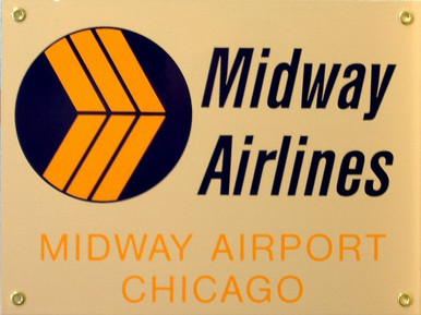 MIDWAY AIRLINES PORCELAIN SIGN