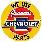 "GENUINE CHEVY PARTS 12"" DIAMETER ROUND METAL SIGN WITH HOLE(S) FOR EASY MOUNTING"