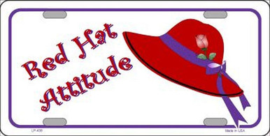 """FLAT ALUMINUM """"RED HAT ATTITUDE"""" LICENSE PLATE MEASURES 12"""" X 6"""" WITH SLOTS FOR EASY MOUNTING"""
