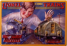 LIONEL TRAIN 1929 BOX TOP EMBOSSED TIN SIGN