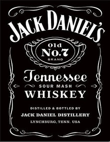 """THIS JACK DANIELS BLACK LABEL SIGN MEASURES 12  1/2""""  X  16"""" WITH HOLES IN EACH CORNER FOR EASY MOUNTING"""