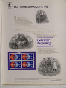 "PANEL # 45, U.S. COMMEMORATIVE PANEL COLLECTIVE BARGAINING, ISSUED 3/13/1975 SCOTT # 1558 PRINTED ON HEAVY PAPER MEASURING 8 1/2"" X 11 1/4"" WITH 4 COLLECTIVE BARGAINING 10, 10 CENT STAMPS PANELS ISSUED BY U.S. BUREAU OF ENGRAVING REPRESENT MANY HISTORICAL EVENTS IN OUR COUNTRY PLUS CULTURAL, WILDLIFE, FLORAL, MUSICAL, MOVIES AND COUNTLESS OTHER SUBJECTS, GREAT FOR COLLECTORS AND ENTHUSIAST OF A WIDE VARIETY OF INTEREST. GREAT TO FRAME FOR GIFTS! UP TO A DOZEN CAN BE SHIPPED USING PRIORITY MAIL FLAT RATE ENVELOPE, FOR THE PRICE OF ONE (REFUND GIVEN (IF APPLICABLE) AFTER PANELS ARE SHIPPED TAKES 3-4 DAYS FOR REFUND TO REACH YOUR CARD) OR YOU CAN SEND ONE OR MORE, FIRST CLASS (NOT INSURED) FOR LESS, YOUR CHOICE."