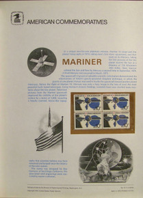 """PANEL # 47, U.S. COMMEMORATIVE PANEL MARINER 10, ISSUED 4/4/1975 SCOTT # 1557 PRINTED ON HEAVY PAPER MEASURING 8 1/2"""" X 11 1/4"""" WITH 4 MARINER 10, 10 CENT STAMPS PANELS ISSUED BY U.S. BUREAU OF ENGRAVING REPRESENT MANY HISTORICAL EVENTS IN OUR COUNTRY PLUS CULTURAL, WILDLIFE, FLORAL, MUSICAL, MOVIES AND COUNTLESS OTHER SUBJECTS, GREAT FOR COLLECTORS AND ENTHUSIAST OF A WIDE VARIETY OF INTEREST. GREAT TO FRAME FOR GIFTS! UP TO A DOZEN CAN BE SHIPPED USING PRIORITY MAIL FLAT RATE ENVELOPE, FOR THE PRICE OF ONE (REFUND GIVEN (IF APPLICABLE) AFTER PANELS ARE SHIPPED TAKES 3-4 DAYS FOR REFUND TO REACH YOUR CARD) OR YOU CAN SEND ONE OR MORE, FIRST CLASS (NOT INSURED) FOR LESS, YOUR CHOICE."""