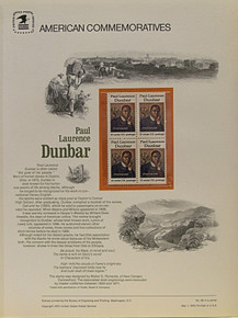 """PANEL # 49, U.S. COMMERATIVE PANEL PAUL LAURENCE DUNBAR, ISSUED 5/1/1975 SCOTT # 1563 PRINTED ON HEAVY PAPER MEASURING 8  1/2""""  X  11  1/4"""" WITH 4 PAUL LAURENCE DUNBAR,  10 CENT STAMPS PANELS ISSUED BY U.S. BUREAU OF ENGRAVING REPRESENT MANY HISTORICAL EVENTS IN OUR COUNTRY PLUS CULTURAL, WILDLIFE, FLORAL, MUSICAL, MOVIES AND COUNTLESS OTHER SUBJECTS, GREAT FOR  COLLECTORS AND ENTHUSIAST OF A WIDE VARIETY OF INTEREST. GREAT TO FRAME FOR GIFTS! UP TO A DOZEN CAN BE SHIPPED USING PRIORITY MAIL FLAT RATE ENVELOPE, FOR THE PRICE OF ONE (REFUND GIVEN (IF APPLICABLE) AFTER PANELS ARE SHIPPED TAKES 3-4 DAYS FOR REFUND TO REACH YOUR CARD) OR YOU CAN SEND ONE OR MORE, FIRST CLASS (NOT INSURED) FOR LESS, YOUR CHOICE."""