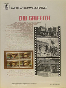 """PANEL # 50, U.S. COMMERATIVE PANEL D.W. GRIFFITH, ISSUED 5/27/1975 SCOTT # 1555 PRINTED ON HEAVY PAPER MEASURING 8  1/2""""  X  11  1/4"""" WITH 4 D.W. GRIFFITH,  10 CENT STAMPS PANELS ISSUED BY U.S. BUREAU OF ENGRAVING REPRESENT MANY HISTORICAL EVENTS IN OUR COUNTRY PLUS CULTURAL, WILDLIFE, FLORAL, MUSICAL, MOVIES AND COUNTLESS OTHER SUBJECTS, GREAT FOR  COLLECTORS AND ENTHUSIAST OF A WIDE VARIETY OF INTEREST. GREAT TO FRAME FOR GIFTS! UP TO A DOZEN CAN BE SHIPPED USING PRIORITY MAIL FLAT RATE ENVELOPE, FOR THE PRICE OF ONE (REFUND GIVEN (IF APPLICABLE) AFTER PANELS ARE SHIPPED TAKES 3-4 DAYS FOR REFUND TO REACH YOUR CARD) OR YOU CAN SEND ONE OR MORE, FIRST CLASS (NOT INSURED) FOR LESS, YOUR CHOICE."""