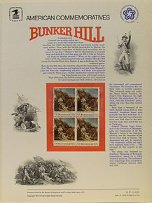 "PANEL # 51, U.S. COMMERATIVE PANEL BUNKER HILL, ISSUED 6/17/1975 SCOTT # 1564 PRINTED ON HEAVY PAPER MEASURING 8  1/2""  X  11  1/4"" WITH 4 BUNKER HILL, 10 CENT STAMPS PANELS ISSUED BY U.S. BUREAU OF ENGRAVING REPRESENT MANY HISTORICAL EVENTS IN OUR COUNTRY PLUS CULTURAL, WILDLIFE, FLORAL, MUSICAL, MOVIES AND COUNTLESS OTHER SUBJECTS, GREAT FOR  COLLECTORS AND ENTHUSIAST OF A WIDE VARIETY OF INTEREST.  GREAT TO FRAME FOR GIFTS! UP TO A DOZEN CAN BE SHIPPED USING PRIORITY MAIL FLAT RATE ENVELOPE, FOR THE PRICE OF ONE (REFUND GIVEN (IF APPLICABLE) AFTER PANELS ARE SHIPPED TAKES 3-4 DAYS FOR REFUND TO REACH YOUR CARD) OR YOU CAN SEND ONE OR MORE, FIRST CLASS (NOT INSURED) FOR LESS, YOUR CHOICE."