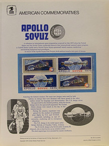 """PANEL # 53, U.S. COMMERATIVE PANEL APOLLO SOYUZ, ISSUED 7/15/1975 SCOTT # 1569a PRINTED ON HEAVY PAPER MEASURING 8  1/2""""  X  11  1/4"""" WITH 4 APOLLO SOYUZ, 10 CENT STAMPS PANELS ISSUED BY U.S. BUREAU OF ENGRAVING REPRESENT MANY HISTORICAL EVENTS IN OUR COUNTRY PLUS CULTURAL, WILDLIFE, FLORAL, MUSICAL, MOVIES AND COUNTLESS OTHER SUBJECTS, GREAT FOR  COLLECTORS AND ENTHUSIAST OF A WIDE VARIETY OF INTEREST. GREAT TO FRAME FOR GIFTS! UP TO A DOZEN CAN BE SHIPPED USING PRIORITY MAIL FLAT RATE ENVELOPE, FOR THE PRICE OF ONE (REFUND GIVEN (IF APPLICABLE) AFTER PANELS ARE SHIPPED TAKES 3-4 DAYS FOR REFUND TO REACH YOUR CARD) OR YOU CAN SEND ONE OR MORE, FIRST CLASS (NOT INSURED) FOR LESS, YOUR CHOICE."""